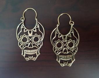 Brass Sugar Skull Earrings