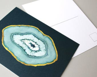 Emerald Agate slice, crystal art, greeting card