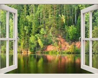 Lake Wall Decal, Lake Wall Sticker, Forest Wall Decal,3d Window View Wall Part 60