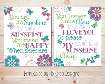 Printable nursery art You are my sunshine Printable butterfly art Baby girl nursery Printable sunshine artwork Baby girls room decor #0975