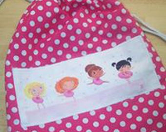 Pretty pink bag printed peas with DrawString