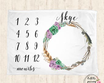 Baby Monthly Milestone Blanket - Succulent Natural Wreath Receiving Blanket Birthday Gift Photo Prop Milestone Blanket - 30x40, 50x60, 60x80