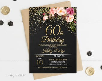 60th Birthday Invitation, Floral Women Birthday Invitation, Chalkboard Birthday Invite, PERSONALIZED, Digital file, #W16