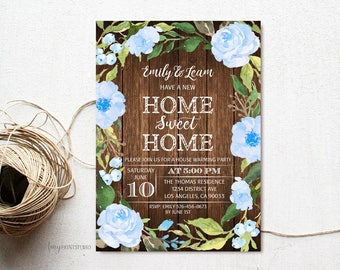 House Warming Invitation, House Warming Party Invite, Home Sweet Home, Wood New Home Invitation, PERSONALIZED, Digital file, #H05