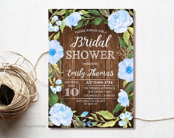 Brunch and Bubbly Bridal Shower Invitation, Rustic Bridal Shower Invitation, Wood Bridal Shower Invite, PERSONALIZED, Digital file, #D14