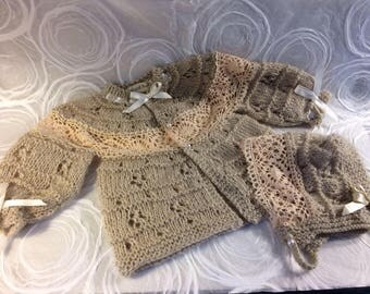 Set of Beige Vintage Baby  Sweater & Bonnet