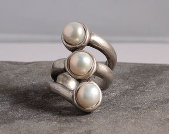 Pearl Ring, Sterling Silver Plated Ring, Uno de 50 Style Ring, Gift For Her, Gifts, Uno de 50 Jewelry