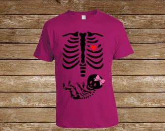 Girl Baby Skeleton Tshirt/ Family Shirts/Pregnant Gift/Pregnant/pregnancy shirts/Parent/Child Shirt/ Halloween