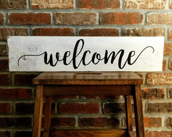 Welcome - Rustic Sign - Farmhouse Sign - Wooden Sign