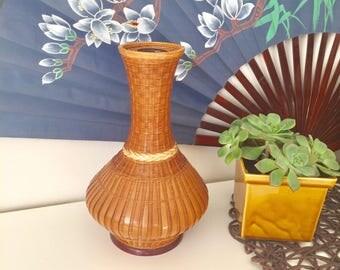 Wicker vase, boho vase, boho decor,