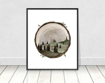 Giclee Print of Orginal Circle Tree Stamp with Hills and Tree Silhouettes Landscape Inside- Watercolor Fine Art Print- Home Decor- Wall Art