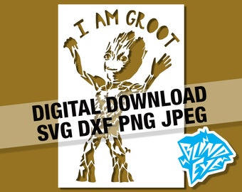 Baby Groot Dancing Digital Download Guardians of the Galaxy, Silhouette, Cricut, SVG, DXF