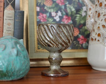 Vintage Retro Stoneware Pottery Wine Goblet, Rustic Wine Glass, Handcrafted Stoneware, Ceramics and Pottery