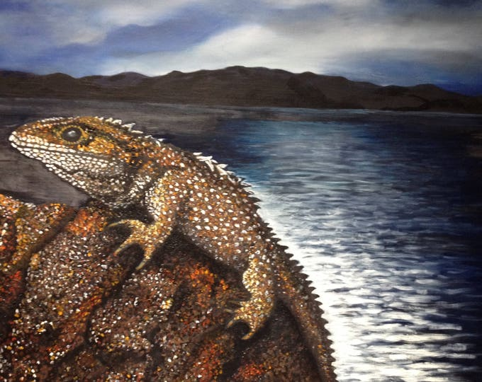 New Zealand Habitat, Oil Painting of Lizard 22X28 in, Animal Painting, New Zealand Pointillism Painting, Wildlife Painting, Reptile In Oil