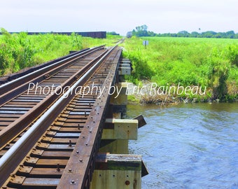 Train Tracks to the Glades II Florida Everglades River Sky Field Rural