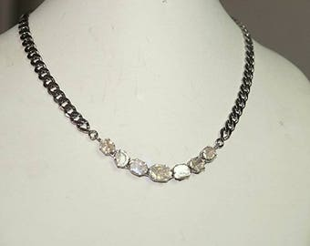 Bohemian style 4.80CTS rose-cut, uncut diamonds sterling silver necklace - SKU PJ110801