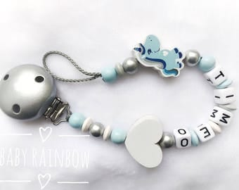 Pacifier personalized name of your choice in Unicorn blue boy girl