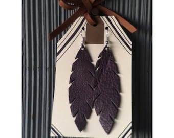 Handmade Mini Leather Feather Earrings