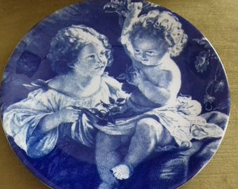 Vintage JH Weatherby & Sons The Collector Series blue and white children's image plate
