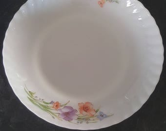 Vintage/Retro Serving Platter/Plate/Dish - White Glassware/Floral Print/Spring/Set Piece/Kitchen/Dining/Eat/Meal/Great Condition/Flowers