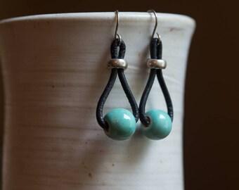 Leather & Bead Earrings. Free U.S. Shipping. Handmade.