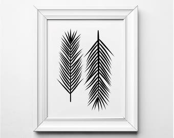 Sago Palm Illustration, Sago Palm Leaves, Palm Wall Art, Black and White Tropical Art Prints, Modern Botanical Printable, Pam Leaves Art