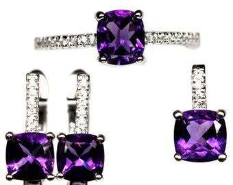 Set: Ring + earring + Sterling Silver 925 gold plated white amethysts and Zirconiums