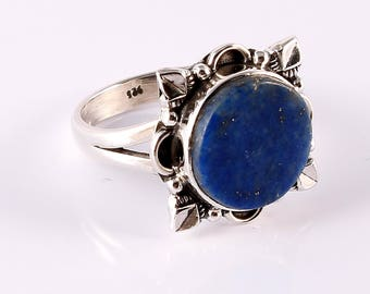 Lapis 92.5 sterling silver ring size 7.5us