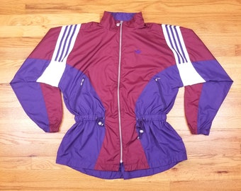 Vintage 90s Adidas Color Block Purple Women's Windbreaker Jacket Zip Up Size Medium M