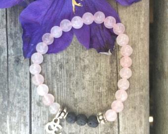 Diffuser Bracelet, Rose Quartz, the stone of unconditional love