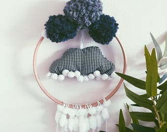 Gingham Clouds Wall Hanging