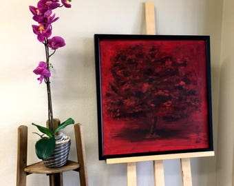 Tree in black and red. 2004. oil on pressboad. 24 in x 24 in