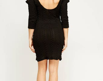 Women's Cable Knit Low Back Dress