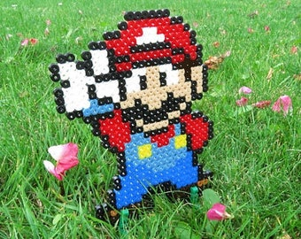 Pixel Art / Bead sprite of Mario (V/Victory/Peace sign)