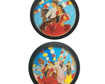 Set of 2 Framed Faux Stained Glass Flamenco Dancers Paintings Feria de Abril_Free US Shipping