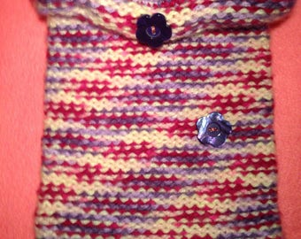 Handmade Knitted Pocketbook Pink Multicolored W/Lining