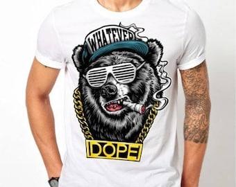 Mens Hip Hop Bear Cigar Bling Dope - White T-shirt