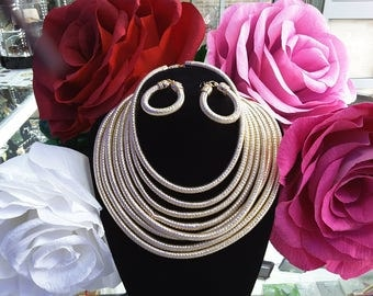 African Fashion Bridal Gold silk 8 tube necklace set with earrings