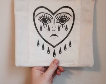 Crying Heart | relief carving | canvas pouch