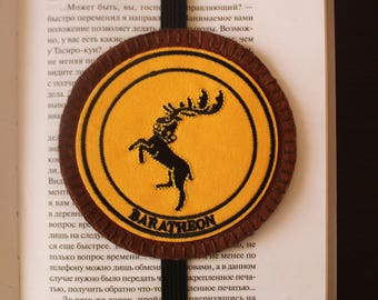 Handmade felt bookmark with Baratheon (Game of Thrones) applique and elastic
