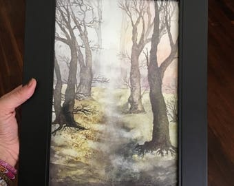 Watercolor art, Forest Path watercolor painting of a Forest path