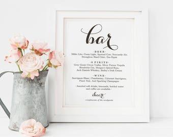 Bar Menu Sign, Bar Menu printable, Wedding Bar Sign, Bar Sign Printable,Bar Sign Template, Reception Sign,Home bar Sign,PDF Instant Download