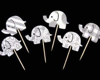 Elephant Cupcake Toppers Set of 6 (Ready to Ship)