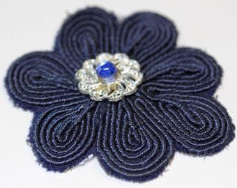 4 Navy Blue Appliques with button attached