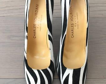 Charles Jourdan Suede Zebra Print Heels