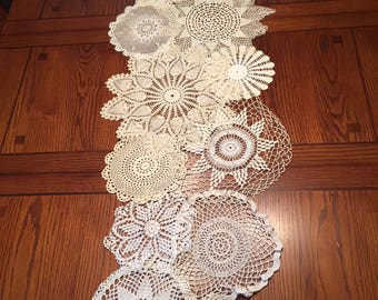 Handcrafted and Stitched Vintage Doily Table Runner
