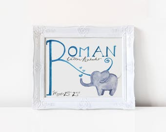 Elephant Watercolor Name Print