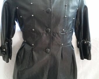 Women's Black 3/4 Studded and Spiked Faux Leather Coat