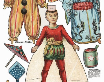 Delightful Turn of the Century Circus  Paper Doll Puppet Toy Clown