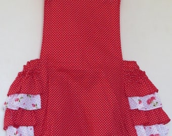 Cotton Red and White Pin Dotted Romper with ruffles – 1 year - 1 available